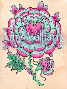 Pink and Teal Geometric Tudor Rose Tattoo Art A4 Print by amybird