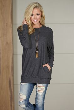 Trip For Two Fleece Sweater - Charcoal from Closet Candy Boutique #fashion #shop