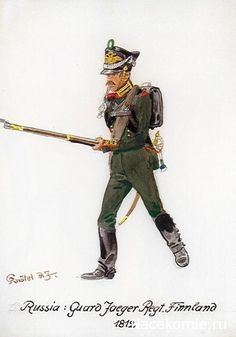 Russian Guard Jaeger, Finland Regiment, 1812.