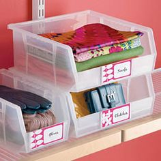 """The Container Store > Expert Tips & Ideas > Label it! > 4"""" x 1.75"""" AkroBin Labels"""