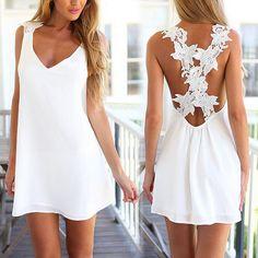 Sexy White Dress Women Backless V Neck Crochet Flower Lace Summer Casual Beach Short Mini Dresses Vestido Renda Branco