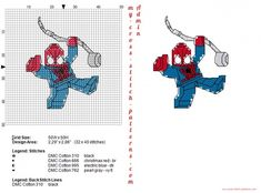 Lego Spiderman cross stitch pattern 32x40 4 dmc threads (click to view)