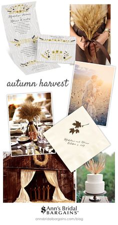 Get that Autumn Harvest wedding look you've always dreamed of with the beautiful inspiration we've gathered here. We have a particular love for fall weddings just like you and it shows in this stunning inspiration board.