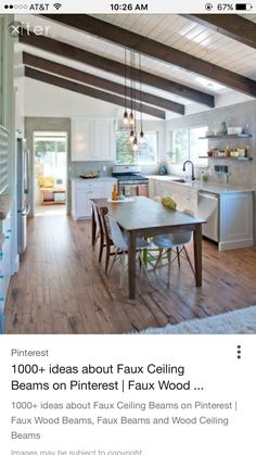 slanted white ceiling wood beams a lot like new kitchen House Design, Cozy Kitchen, Home, Before After Kitchen, Industrial Kitchen Design, New Homes, Kitchen Redo, Home Kitchens, Kitchen Design