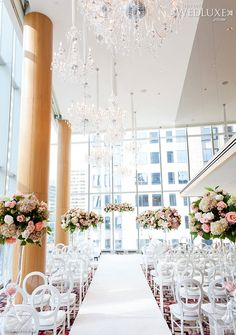 Toronto wedding held at the Shangri-La Hotel Indoor Wedding Ceremonies, Indoor Ceremony, Wedding Ceremony Flowers, Wedding Ceremony Decorations, Hotel Wedding, Dream Wedding, Wedding Blog, Wedding Ideas, Wedding Venues Toronto