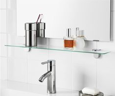 Useful under the bathroom mirror, or anywhere you need a spot to stash things. Kalkgrund shelf, $14.99 from IKEA.