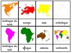 I have just seen that I have never posted our nomenclature maps of the Continents. Here is a small post to introduce you quickly … - Montessori Education, Montessori Materials, Montessori Activities, Kids Education, Activities For Kids, Formation Montessori, Continents And Oceans, Teaching Time, Learn English