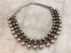Vintage Rajasthani Hand-linked Silver Balls Necklace by OKOgallery - jewelry online shop, handmade jewelry designers, jewelry rings *ad Tribal Jewelry, Metal Jewelry, Indian Jewelry, Antique Jewelry, Silver Jewelry, Jewelry Rings, Jewellery, Silver Rings, Chanel