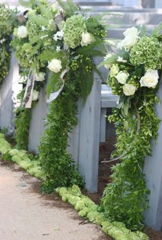Lush organic wedding aisle decor