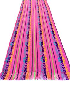 Mexican Fabric Table Runner Embroidered Pink