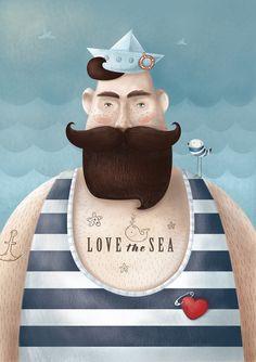 love this guy Sailor Illustration, Children's Book Illustration, Digital Illustration, Tableaux D'inspiration, Sea Art, Illustrators On Instagram, Portrait Art, Art For Kids, Folk Art
