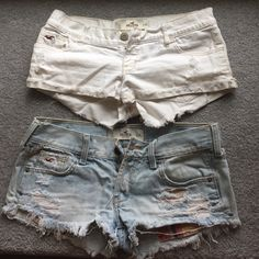 2 pairs Hollister Shorts Both size 3. Too small for me now. Super fun for pairing with a tank in the summer! ☀️ They are worn which is why I'm doing a 2 for 1! Shoot me an offer  Hollister Shorts Jean Shorts