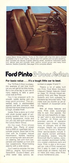 Ford 1974 Pinto Sales Brochure Ford Pinto, Military Jeep, Mclaren Mercedes, Chrysler Jeep, Door Trims, Ford Models, Door Coverings
