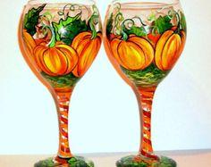Halloween Painted Wine Glasses | Hand Painted Wine Glasses 5 Orange Pumpkins with Leaves and Vine Set ...