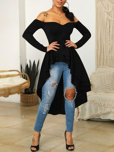 Off Shoulder Long Sleeve Dip Hem Blouse Cute Outfits With Jeans, Casual Outfits, Trend Fashion, Fashion Design, Long Shirt Dress, Long Tops, Skirt Outfits, Jumpsuits For Women, African Fashion