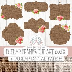 "Burlap Frames Clip Art: ""Burlap Digital Frames"" with burlap digital frames, labels with and without roses + 4 Digital Papers x Cute Crafts, Diy And Crafts, Paper Crafts, Framed Burlap, Burlap Frames, Wedding Reception Chairs, Budget Flowers, Cupcake Toppers Free, Tarjetas Diy"