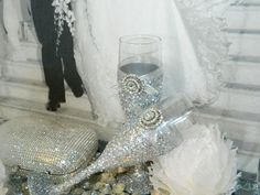 Wedding Champagne Glasses Champagne Flutes Toasting by KPGDesigns Red Silver Wedding, Pink Silver Weddings, Silver Wedding Decorations, Bronze Wedding, Fall Wedding, Black Weddings, Prom Decor, Wedding Centerpieces, Wedding Ideas