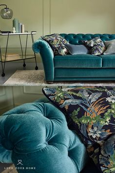 Love Your Home - The botanical leaf printed velvet 'Nightshade' perfectly matched on our Clementine Sofa bed upholstered in Teal Mohair velvet 'Peacock'. The botanical print velvet also looks gorgeous with green velvet, grey velvet, mustard velvet and many other shades.