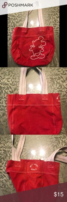 Mickey mouse canvas tote OFFICIAL DISNEY WORLD TOTE (Small) RED TOTE WITH STITCHING. HAS SOME STAINS AND MINOR DISCOLORATION. Disney Bags Totes