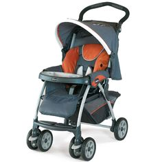 "The Cortina Stroller has a multi-position, flat-recline seat with ""Memory Recline""."