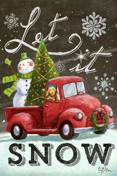 how to paint red truck with christmas tree Christmas Truck, Christmas Scenes, Vintage Christmas Cards, Christmas Snowman, Winter Christmas, Christmas Holidays, Christmas Crafts, Christmas Decorations, Christmas Ornaments