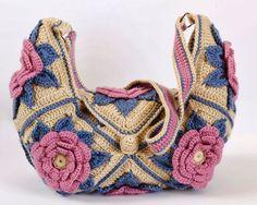 Outstanding Crochet: Granny Square Flower Bag. Tutorial/pattern Moss ༺✿ƬⱤღ https://www.pinterest.com/teretegui/✿༻