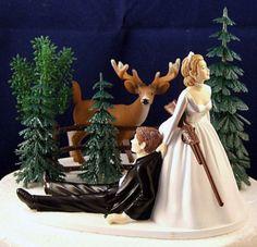 Deer Hunting Hunter Wedding Cake Topper