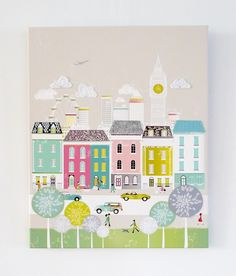 Love these city textile canvas prints by Laura Amiss on Etsy!  This is London, but there are many other cities represented!