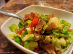 Cut the Wheat, Ditch the Sugar: Sweet & Spicy Sautéed Brussels Sprouts with Bacon, Onion and Red Pepper