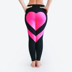Heart Pattern Mesh Splice Legging
