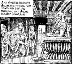 Robert Crumb - The story of Joseph & his brothers - Joseph presents his father to Pharaoh (Genesis 47:7)