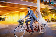 Tandem Bicycle wedding exit. Photo by Nack Photography.