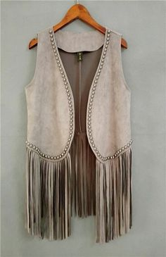 Colete country menina Country Fashion, Boho Fashion, Fashion Outfits, Western Dresses, Western Outfits, Looks Country, Fringe Vest, Blouse Designs, Clothes For Women