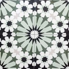 """Cement tile, encaustic, """"casablanca green"""" available in Ottawa at Saltillo Tile. Love this as a potential floor tile for the powder room update. Painting Tile Floors, Painted Floors, House Painting, Green Mosaic Tiles, Mosaic Art, Stone Tile Flooring, Islamic Art Pattern, Geometry Pattern, Encaustic Tile"""