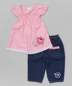 Look at this #zulilyfind! Pink Eyelet Tunic & Denim Capri Pants - Infant & Toddler by Coney Island Kids #zulilyfinds