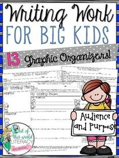 Writing Work for Big Kids: Audience and Purpose. This resource includes 13 no prep pages for students to develop a deeper understanding of audience and purpose. ($)