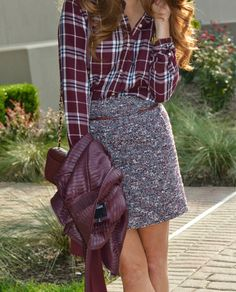 / plaid shirt + tweed skirt business * chic в Fall Winter Outfits, Autumn Winter Fashion, Fall Fashion, Fashion Trends, Chic Outfits, Fashion Outfits, Womens Fashion, Hipster Outfits, Skirt Fashion
