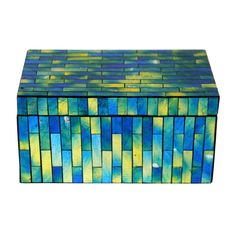 Mosaic Blue and Green Box Basket Drawers, Green Box, At Home Store, Cube, Mosaic, Storage, Home Decor, Purse Storage, Decoration Home