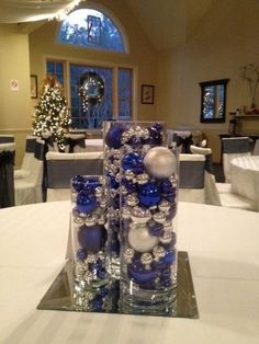 Wedding table decorations for royal blue and silver metallic winter wedding