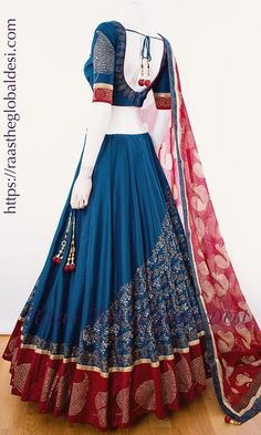 garba chaniya choli Silk Chania with designer brocade blouse and contrast dupatta Indian Fashion Dresses, Indian Bridal Outfits, Indian Gowns Dresses, Dress Indian Style, Indian Designer Outfits, Half Saree Designs, Choli Designs, Lehenga Designs, Designer Party Wear Dresses