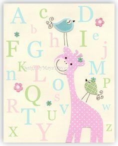 baby girl wall art   Baby girl wall art Nursery Decor Children room birds giraffe alphabet ...