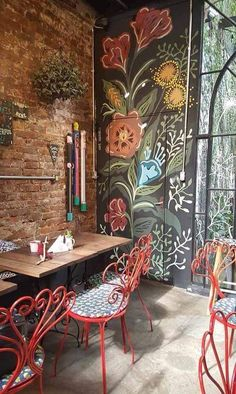 I like the dandelion and folk art feeling of this mural. Pintura Mural para Loja & Café Love it _ Artista Suyê Zucchetti Cafe Interior Design, Cafe Design, Interior And Exterior, House Design, Interior Modern, Interior Ideas, Coffee Shop Design, Deco Design, Mural Ideas
