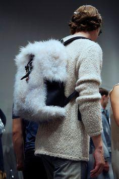 White fur backpack backstage at Fendi SS15, Milan menswear.