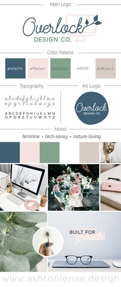 Brand identity, mood board, and logo design for a web developer. Feminine, Tech-Savvy, and Nature-Loving inspiration. Computer and leaves with a green, blue, and pink color scheme. Tech, nature, girly, professional branding.