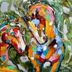 Original oil painting Abstract Equine Pony Horses by Karensfineart