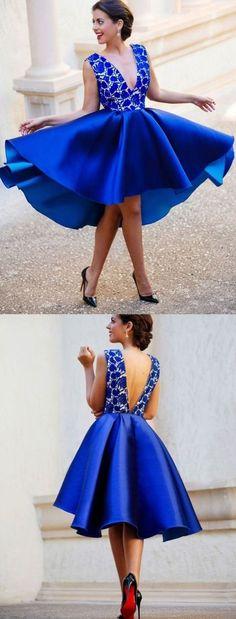 Sexy High Low Homecoming Dress V-neck A-line Royal Blue Short Prom Dress Party Dress JK469 #annapromdress #homecomingdress #homecoming #shortdress #shortpromdress #partydress #party #prom #fashion #style #dress #v-neck #royalblue