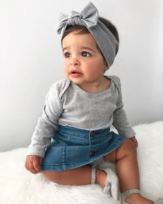 Baby girl wearing grey top with headband and denim skirt. So Cute Baby, Cute Babies, Baby Kids, Babies Stuff, Toddler Girls, Cute Baby Girl Outfits, Cute Baby Clothes, Toddler Outfits, Cute Kids Fashion