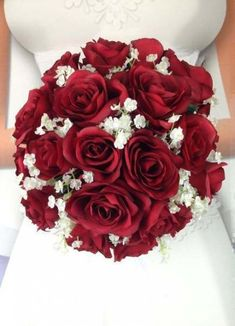New Artificial Apple Red Wedding Round Bouquet, in diameter, Baby's Breath and Apple Bridal Bouquet Red Flower Bouquet, Red Bouquet Wedding, Summer Wedding Bouquets, Red Wedding Flowers, Wedding Flower Arrangements, Bride Bouquets, Bridal Flowers, Diy Wedding, Wedding Favors