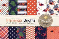 Flamingo Digital Papers by JennyL Designs on @creativemarket