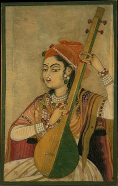 A Lady Playing the Tanpura. India (Rajasthan, Kishangarh), ca. 1735. Ink, opaque and transparent watercolor, and gold on paper, 18 1/2 x 13 1/4 in. (47 x 33.7 cm). The Metropolitan Museum of Art, Fletcher Fund, 1996. © The Metropolitan Museum of Art.